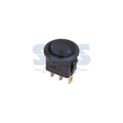 Выключатель клавишный круглый 12V 16А (3с) ON-OFF черный с синей подсветкой REXANT