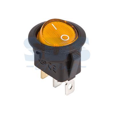 Выключатель клавишный круглый 12V 20А (3с) ON-OFF желтый с подсветкой REXANT carprie new replacement atx motherboard switch on off reset power cable for pc computer 17aug23 dropshipping
