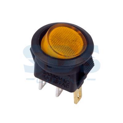 Выключатель клавишный круглый 250V 3А (3с) ON-OFF желтый с подсветкой Micro REXANT