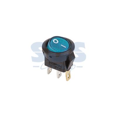 Выключатель клавишный круглый 250V 3А (3с) ON-OFF синий с подсветкой Micro REXANT