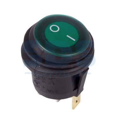 Выключатель клавишный круглый 250V 6А (3c) ON-OFF зеленый с подсветкой ВЛАГОЗАЩИТА REXANT выключатель rexant 250v 3a 3c red 06 0310 a