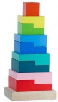 Купить Пирамидка Ступеньки 9 дет., alatoys, дерево, Пирамидки для малышей