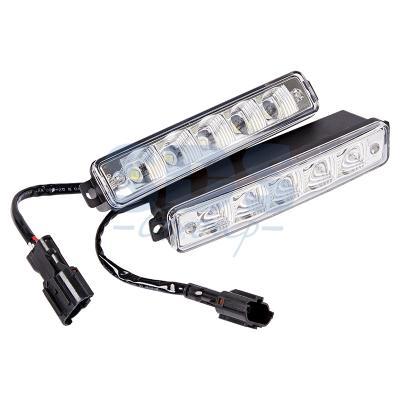 Дневные ходовые огни в алюминиевом корпусе с боковым креплением 10 диодов, встроенный стабилизатор ходовые огни autoluxe 12v 9 smd диодов