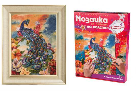 Мозаика из пайеток на холсте Павлин