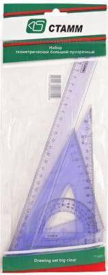 Набор большой, прозрачный - линейка 30 см, 2 треугольника бол., транспортир, в европодвесе линейка бесцветная прозрачная 30 см в европодвесе