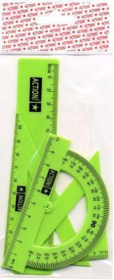 Набор для черчения-линейка 15см, 2 треугольника-30/10,45/7, транспортир-10см, флюоресцент., е/п набор maped start 897139 компл лин 15см угол 12см трансп 10см