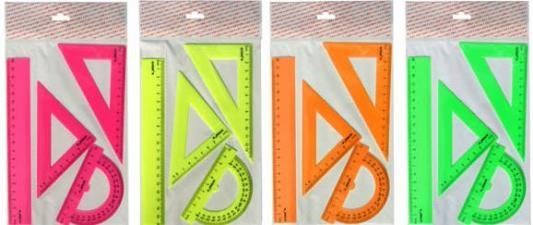 Фото - Набор для черчения-линейка 20см, 2 треугольника-30/13,45/9, транспортир-10см, флюоресцент., е/п линейка action yoohoo пластиковая с рисунком 20см пакет c е п 2 диз yh aar20