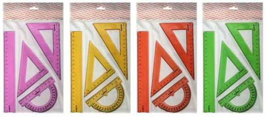 Набор для черчения-линейка 20см, 2 треугольника-30/13,45/9, транспортир-10см, прозр.,флюоресц., е/п линейка silwerhof 160155 пластик дл 20см прозрачный офицерская спайка