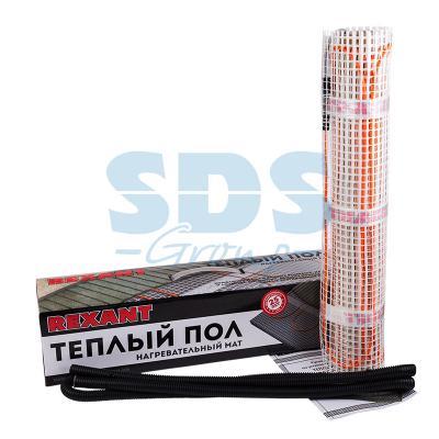 Теплый пол (нагревательный МАТ) REXANT Extra, площадь 8,0 м2 (0,5 х 16,0 метров), 1280Вт, (двух жильный) теплый пол нагревательный мат rexant extra площадь 8 0 м2 0 5 х 16 0 метров 1280вт двух жильный