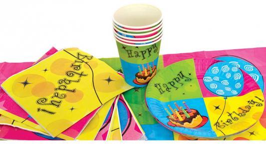 Набор для праздника С ДНЕМ РОЖДЕНИЯ!, в наборе: 6 тарелок, чашек, салфеток, скатерть 130см*180