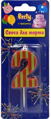 Купить Свеча-цифра для торта 2 , разноцветная, 4, 8см, материал: парафин, Action!, Сервировка стола и свечи