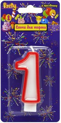Купить Свеча-Цифра 1 для торта, разноцветная, 7см, материал: парафин, Action!, Сервировка стола и свечи