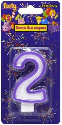 Купить Свеча-Цифра 2 для торта, разноцветная, 7см, материал: парафин, Action!, Сервировка стола и свечи