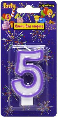 Купить Свеча-Цифра 5 для торта, разноцветная, 7см, материал: парафин, Action!, Сервировка стола и свечи