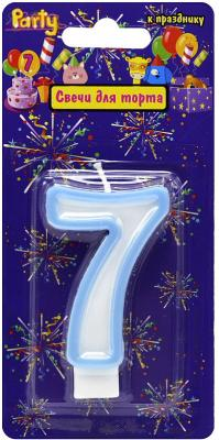Купить Свеча-Цифра 7 для торта, разноцветная, 7см, материал: парафин, Action!, Сервировка стола и свечи