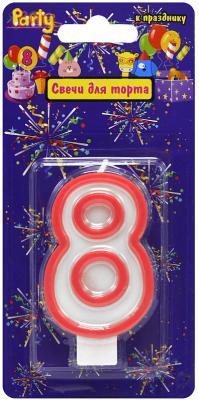 Купить Свеча-Цифра 8 для торта, разноцветная, 7см, материал: парафин, Action!, Сервировка стола и свечи