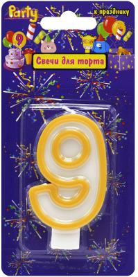 Купить Свеча-Цифра 9 для торта, разноцветная, 7см, материал: парафин, Action!, Сервировка стола и свечи