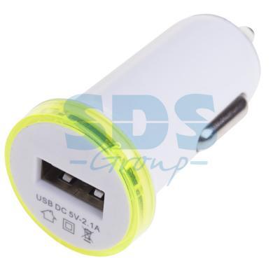 цена Автозарядка в прикуриватель USB (АЗУ) (5V, 2100mA) белая REXANT