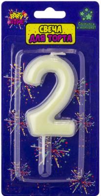 Купить Свеча Action! Флюоресцентная свеча - цифра 2 6 см, Сервировка стола и свечи