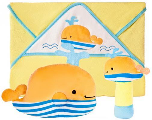 Подарочный набор Веселый кит: полотенце, погремушка и подушка zoocchini погремушка кит синий 00528