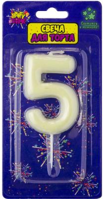 Купить Свеча Action! Флюоресцентная свеча - цифра 5 6 см, Сервировка стола и свечи