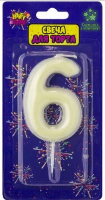 Купить Свеча Action! Флюоресцентная свеча - цифра 6 6 см, Сервировка стола и свечи