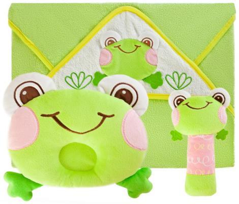 Подарочный набор Забавный лягушонок: полотенце, погремушка и подушка погремушки жирафики подарочный набор жирафики забавный лягушонок