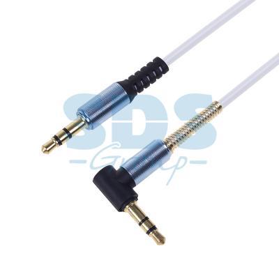 Аудио кабель 3,5 мм штекер-штекер угловой, металлические разъемы, 1М белый REXANT