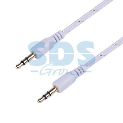 Аудио кабель AUX 3.5 мм в тканевой оплетке 1M белый REXANT