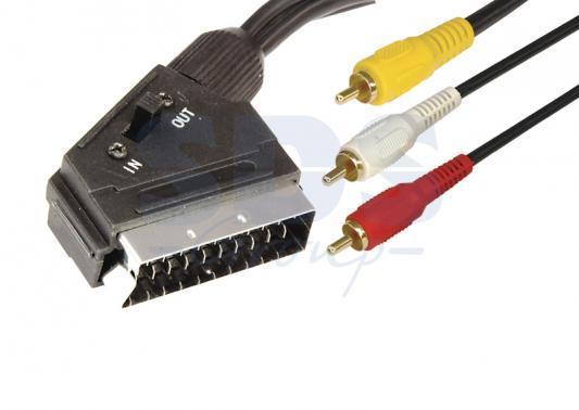 Шнур SCART Plug - 3RCA Plug с переключателем 1.5М (GOLD) REXANT gold plated banana plug jack connector set golden 3 5mm 10 pairs