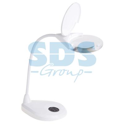 Лупа настольная 3D+12D с подсветкой LED, регулировка яркости, серия EXPERT, белая REXANT цена и фото