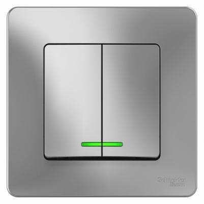 Выключатель SCHNEIDER ELECTRIC BLNVS010513 Blanca 2-кл. сп сх.5 10А 250В с подсветкой алюм. выключатель tdm sq1801 0047 1 кл открытой установки с подсветкой ip20 10а сосна ладога