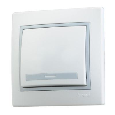 Выключатель LEZARD 701-0215-100 серия скр.проводки Мира 1клавиша белый с серой вставкой