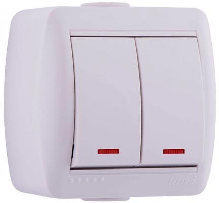 Выключатель LEZARD 710-0200-112 2клавиши подсветка наруж.проводки серии Ната белый
