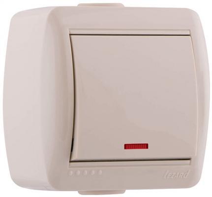 Выключатель LEZARD 710-0300-111 подсветка 1клавиша наруж.проводки серии Ната белый розетка lezard 702 0202 122