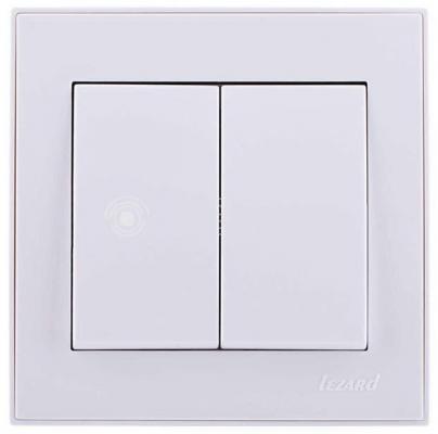 Выключатель LEZARD 703-0202-101 серия скр.проводки Рейн двойной белый с белой вставкой