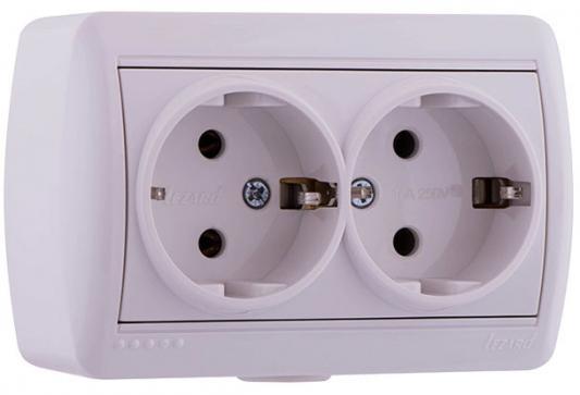 Купить Розетка LEZARD 710-0200-127 двойная с/з закрытый корпус керамика наруж.проводки серии Ната белый