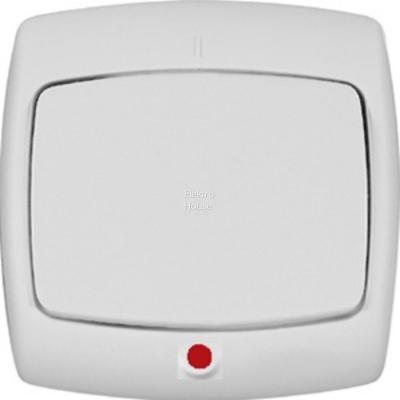 Выключатель WESSEN S16-066-BI Рондо белый 1-клавишный с подсветкой 6А в сборе