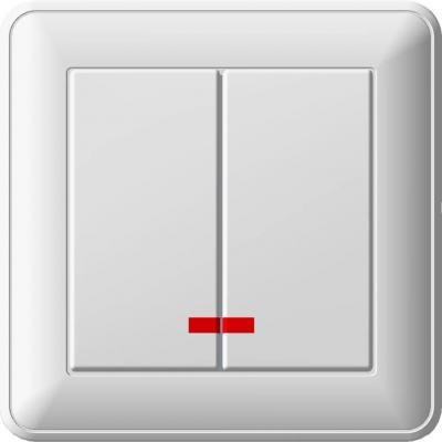 Выключатель WESSEN VS516-251-18 59 Белый 2-клавишный с подсветкой 16А сх.5 в сборе с рамкой