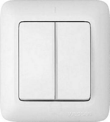 Выключатель WESSEN A56-007-BI Прима Бел 2-клавишный с подсветкой 6А наружный