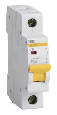 Выключатель автоматический модульный ИЭК 1п C/ 16А ВА 47-29 MVA20-1-016-C