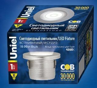 Встраиваемый светодиодный светильник (07624) Uniel ULM-R02-1W/NW IP20 SAND Silver uniel ulo cl120 40w nw silver