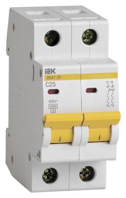 Выключатель автоматический модульный ИЭК 2п C/ 25А ВА 47-29 MVA20-2-025-C автомат iek 2п c 50а ва 47 29