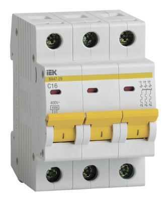 Выключатель автоматический модульный ИЭК 3п C/ 16А ВА 47-29 MVA20-3-016-C (4) автоматический выключатель tdm ва47 29 4р 13а 4 5ка в sq0206 0057