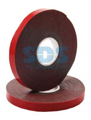 Двухсторонний скотч, красного цвета на серой основе, 9мм, 5метров REXANT двухсторонний скотч прозрачный 12мм 5м rexant