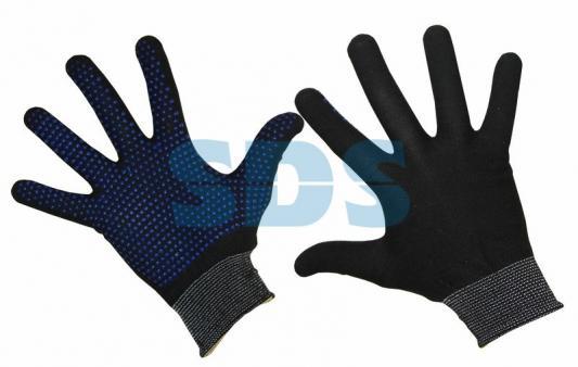 Перчатка нейлоновая с частичным покрытием ладони и пальцев точка ПВХ. ЧЕРНАЯ перчатка бильярдная longoni black fire l 45 311 03 5 черная