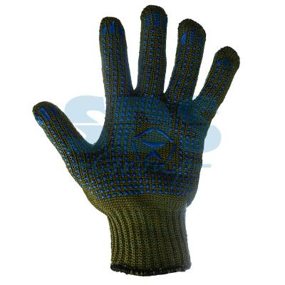 """Перчатки ХБ """"Олива"""" с нанесением точка 5 нитей 66-68гр."""