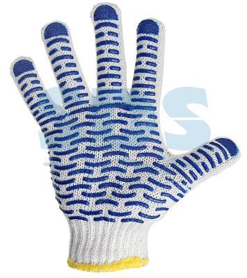 Перчатки ХБ с нанесением ПВХ (волна), 4 нити, 55-56гр., 7,5 класс вязки перчатки хб русский инструмент 67710 10 класс