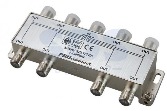ДЕЛИТЕЛЬ ТВ х 8 под F разъём 5-1000 МГц PROCONNECT разъём bnc под f