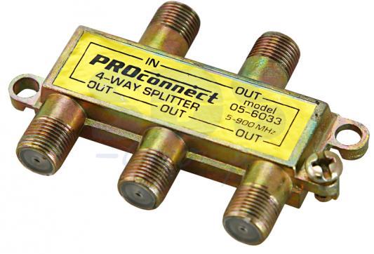 ДЕЛИТЕЛЬ ТВ х 4 под F разъём 5-900 МГц PROCONNECT разъём bnc под f